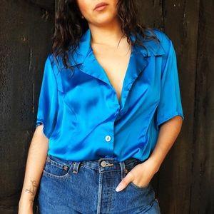 Vintage charmeuse cobalt blouse